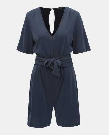 Tmavě modrý krátký overal s průstřihem na zádech Selected Femme Elena